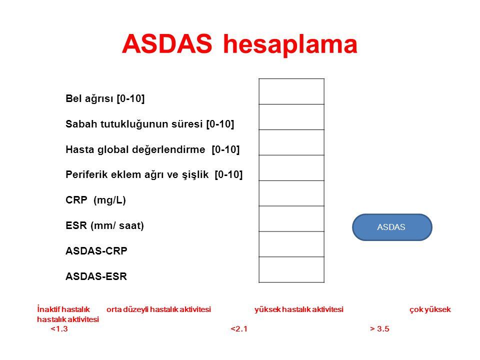 ASDAS hesaplama Bel ağrısı [0-10] Sabah tutukluğunun süresi [0-10]
